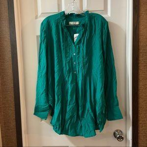 Loft Teal Green V Neck Long Sleeve Tunic Blouse M